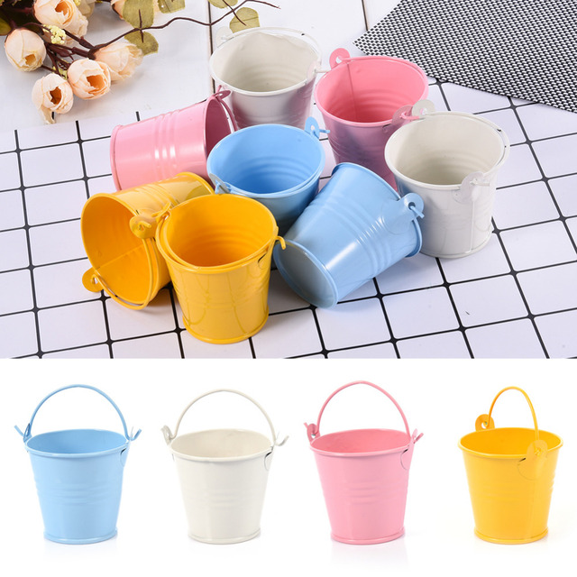12pc/lot Multicolored Candy Box Small plant Pot Mini Metal Bucket Party Candy Container Flowerpot Pary Wedding Decoration