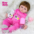 Soft Silicone Vinyl Dolls 16inch 40cm Doll Reborn Baby Brown Wig Girl Handmade Cotton Body Lifelike Bebe juguetes Babies Toys
