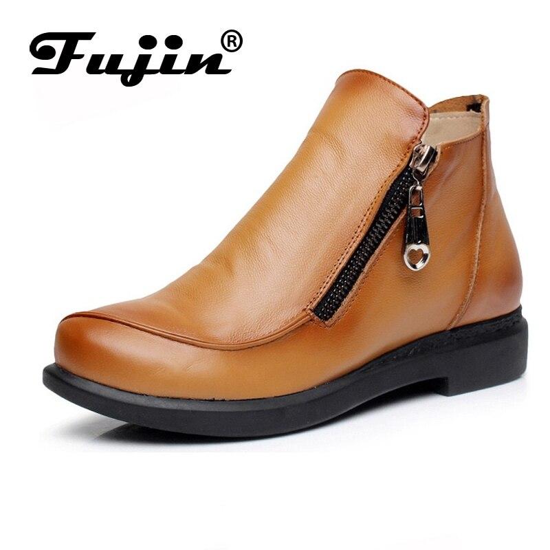 2019 Նոր աշուն տիկին Ձմեռային կարճատև հարթ կրունկներ կոշիկ Բնական կաշվե կոշիկներ Կիսաթափանցիկ կանանց կոճ կոշիկներ Plus Size 41-43 for femal