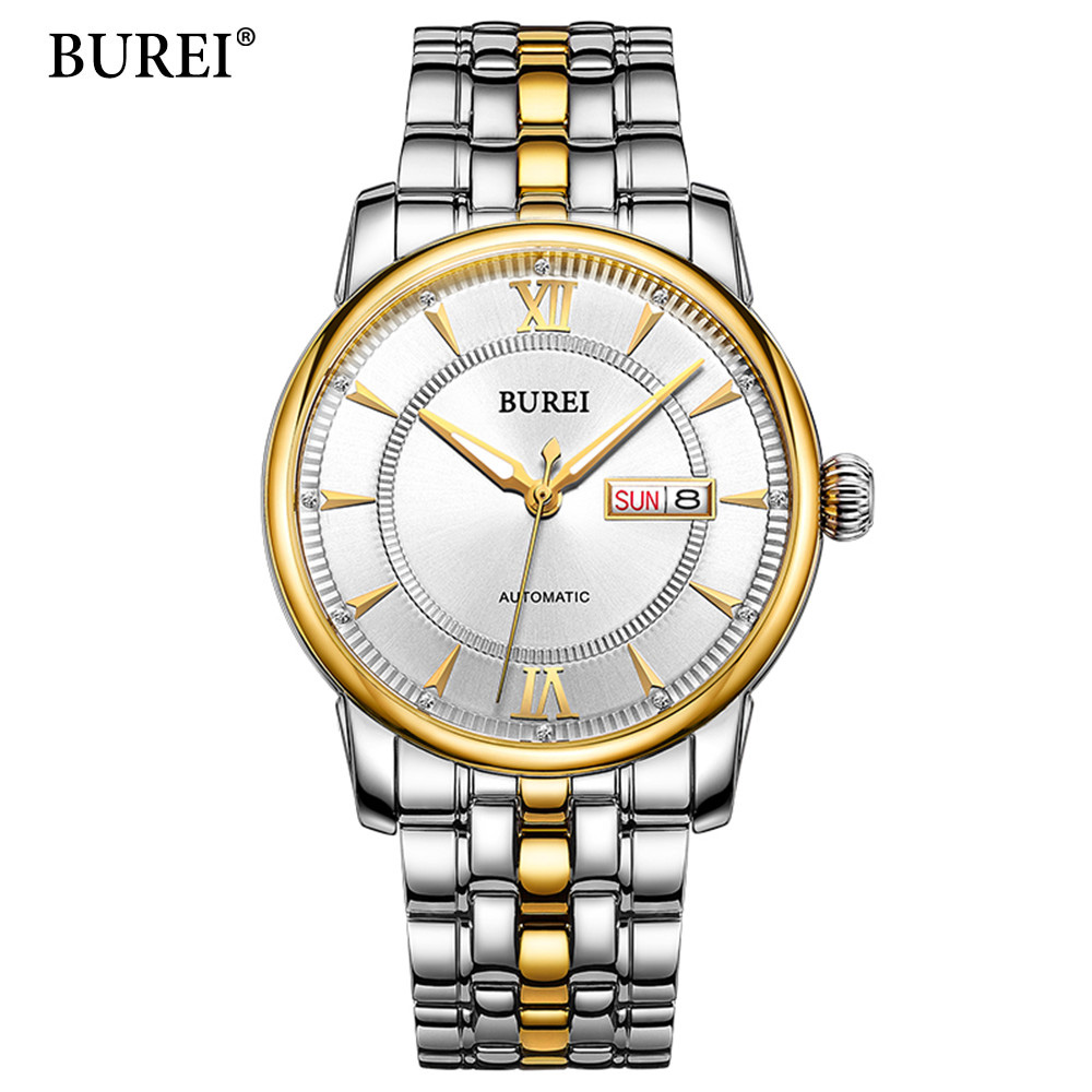 2018 BUREI Mens Watches Top Brand Luxury Men Watch Automatic Mechanical Stainless Steel Men Gold Wrist Watch Relogio Masculino 2018 men s watches automatic watch men luxury brand stainless steel band top luxury fashion mechanical wrist watch relogio clock