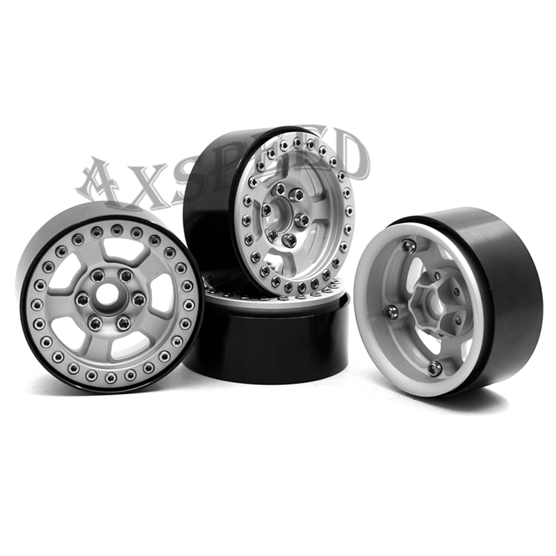 Axspeed Silver Rc 1:10 Crawler Wheels Alloy Wheel Rims 1.9 Inch Wheel Hubs For 1/10 Rc Car D90 Scx10 Cc01 D110 Rock Crawler Toys & Hobbies