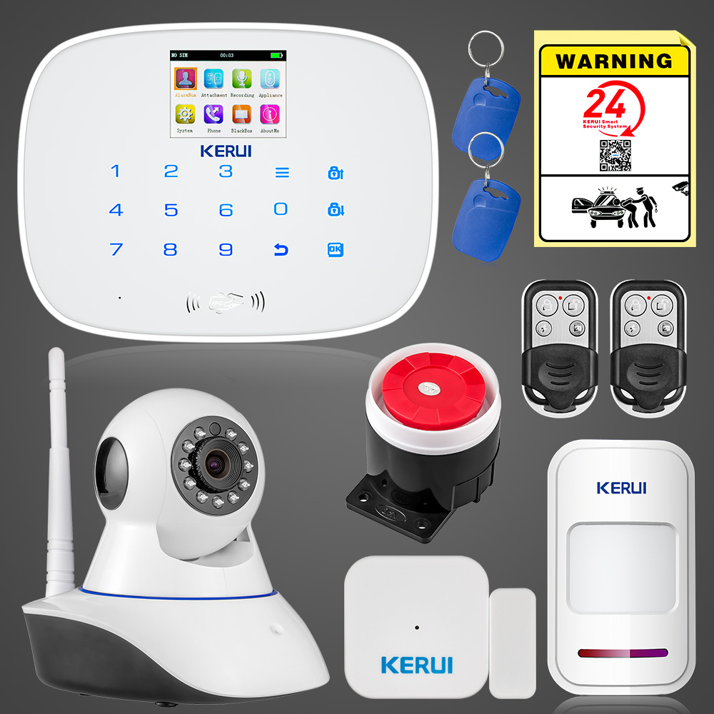 KERUI G19 IOS Android APP Control Wireless Home Security GSM Alarm low battery power off SMS reminder Alarm with WiFi IP camera kerui g19 android ios app control home security gsm alarm wireless remote control with fire smoke detector
