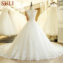 SL 1T Vintage Custom Made A Line uzun dantel aplikler çin düğün elbisesi artı boyutu Bohemian abito da sposa tül gelin kıyafeti