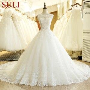 Image 1 - SL 1T בציר תפור לפי מידה אונליין ארוך תחרה אפליקציות סין חתונה שמלה בתוספת גודל בוהמי Abito דה sposa טול כלה שמלה