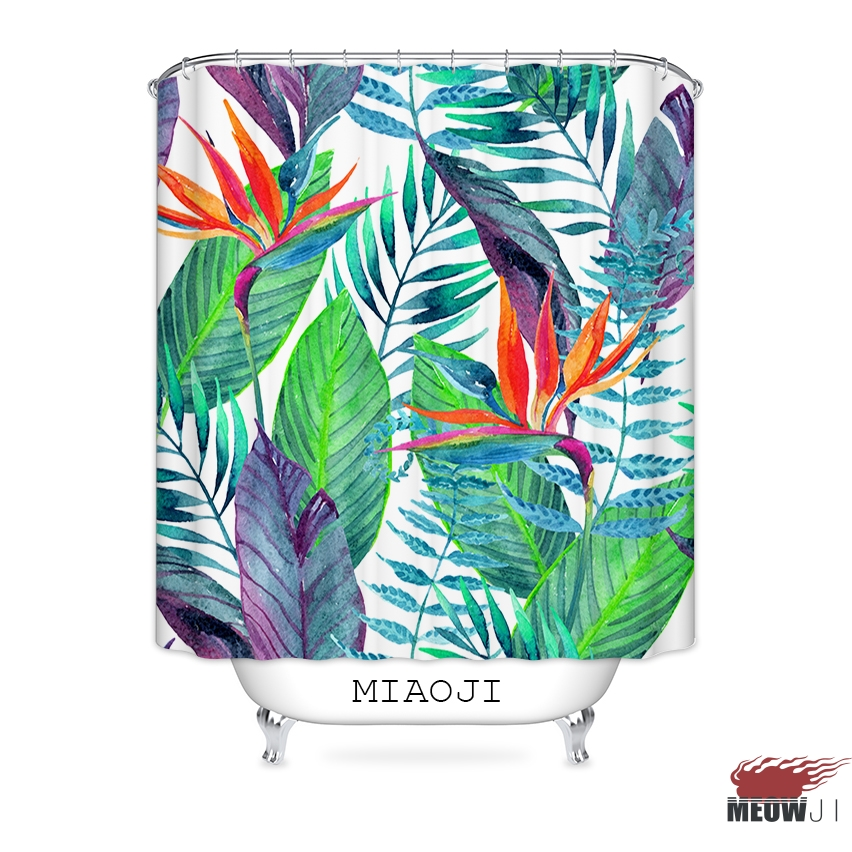[MIAOJI] Waterproof Fabric Shower Curtain Lush Giant Green Plant Leaves Bathroom Decor Various Sizes Free Shipping