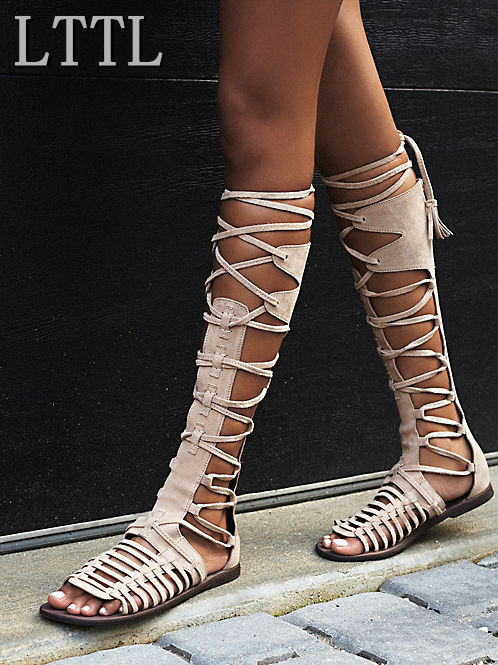 LTTL 2017 Summer Fashion Lace-Up Long Gladiator Sandals Cut-Outs Knee High Women Boots Peep Toe Plus Size Women Flat Shoes enmayer new women high heels fashion cut outs lace up knee high boots shoes woman summer peep toe sandals boots black shoes