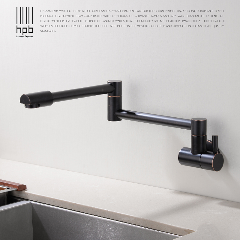 HPB Kitchen Faucet Wall Mounted Single Cold Only Brass Oil Rubber Bronze Sink Tap Single Handle 720 Degree Rotation HP9105 hpb oil rubbed kitchen facuet mixer single cold water kitchen faucet handle brass single handle sink tap wall mounted hp9105b