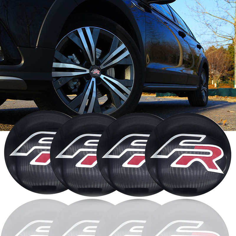 4PCS 56mm <font><b>Car</b></font> Logo Emblem Tire <font><b>Wheel</b></font> Center Rim Hub Caps Covers Stickers For <font><b>Seat</b></font> <font><b>Leon</b></font> FR+ Cupra Ibiza 6l <font><b>Altea</b></font> Exeo Formula image