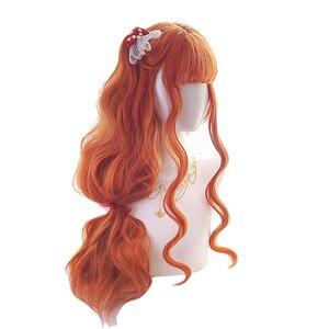 Image 4 - L email peruk uzun turuncu Lolita peruk kadın saç dalgalı Cosplay peruk cadılar bayramı Harajuku peruk isıya dayanıklı sentetik saç