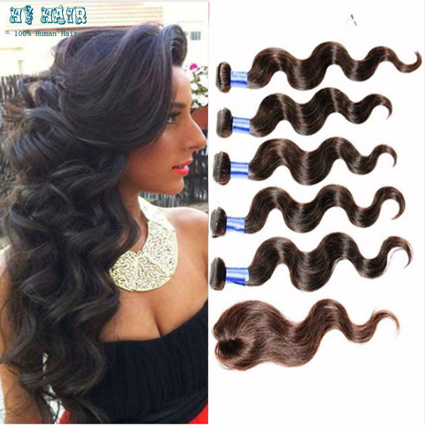 Cheap peruvian body Weave 5 Bundles With Closure Peruvian body  bundles With Closure Natural Black 12 to 20 inch VIP beauty hair
