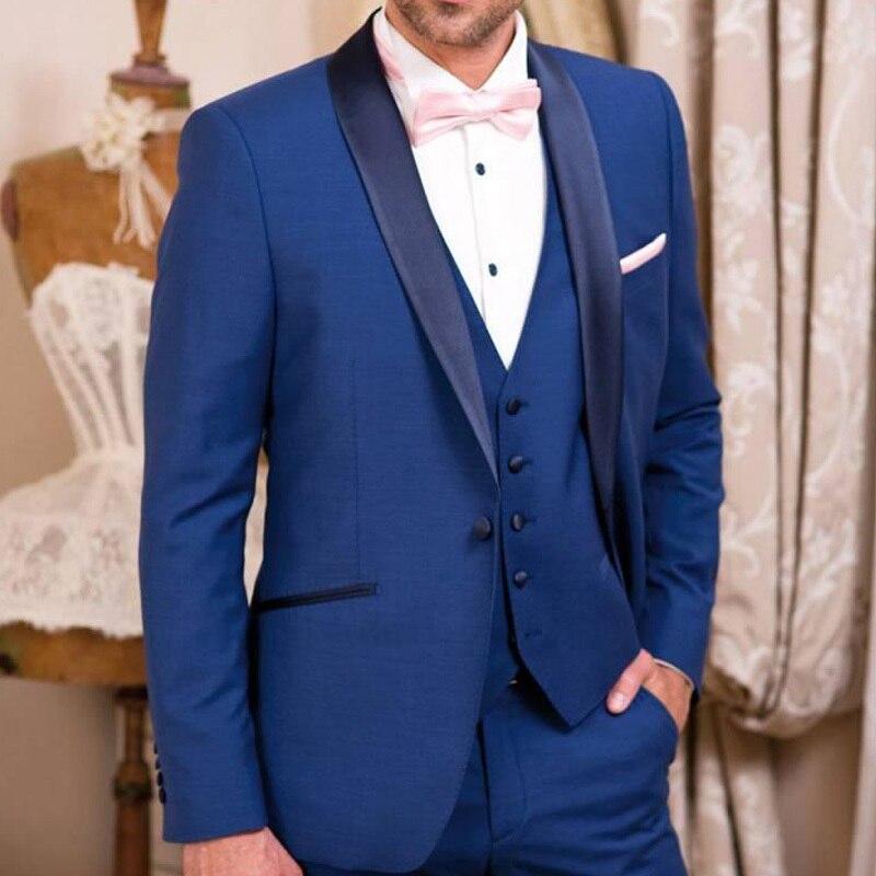 2018 Smokings Le Mesure Trois Pour Party Hommes Gilet Châle De Bleu Pantalon Mariage Veste Pièces Marié Image Sur Garçons D'honneur Costumes Same Business Usure Revers As qIvvYzwFHn