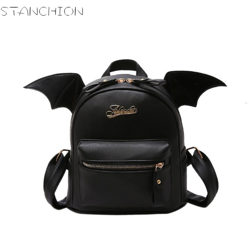 STANCHION PU Leather for Women Backpack Little Devil Wings Travel Mini Daily School Shoulder Bag
