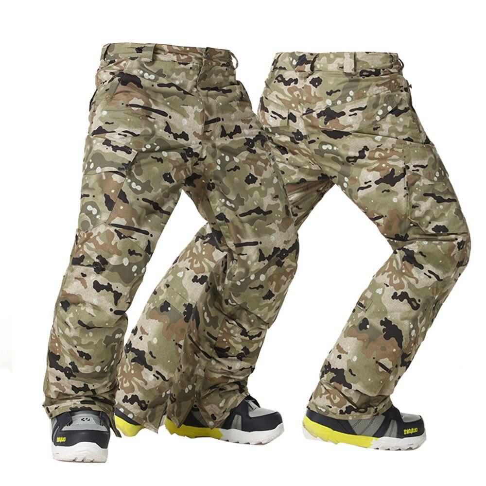 Gsou Snow hommes épaissir chaud coupe-vent pantalon de Ski imperméable respirant Camouflage pantalon de Ski hommes hiver Snowboard pantalon
