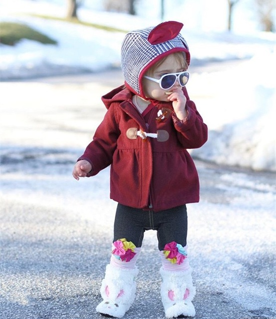 ins* 2016 baby girls autumn Sheep wool cute coat kids fashion outwear wine red color 1-4Y high quality free shipping