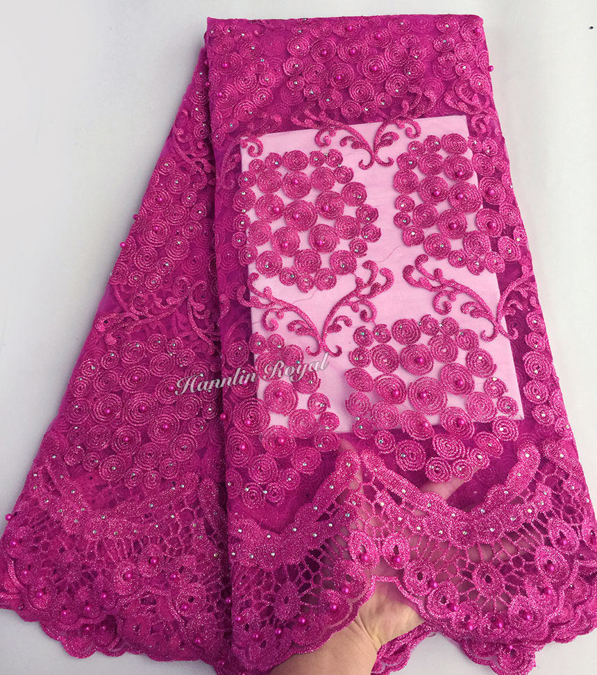 Plain fushia pink Lovely cord embroidery french lace African tulle lace fabric for sewing 5 yards