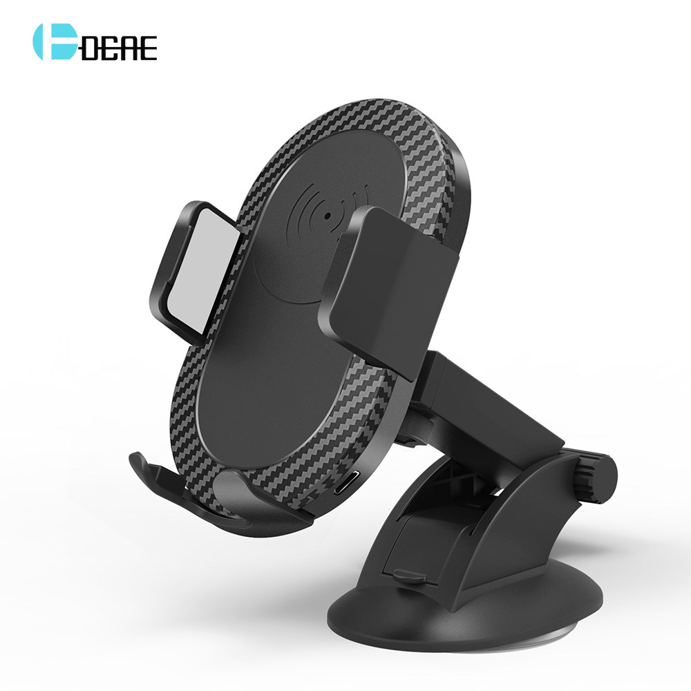 DCAE Car QI Fast Wireless Charger For iPhone X XS Max XR 8 Plus Samsung S8 S9 Note 9 8 Car Phone Holder Wireless Charging Stand