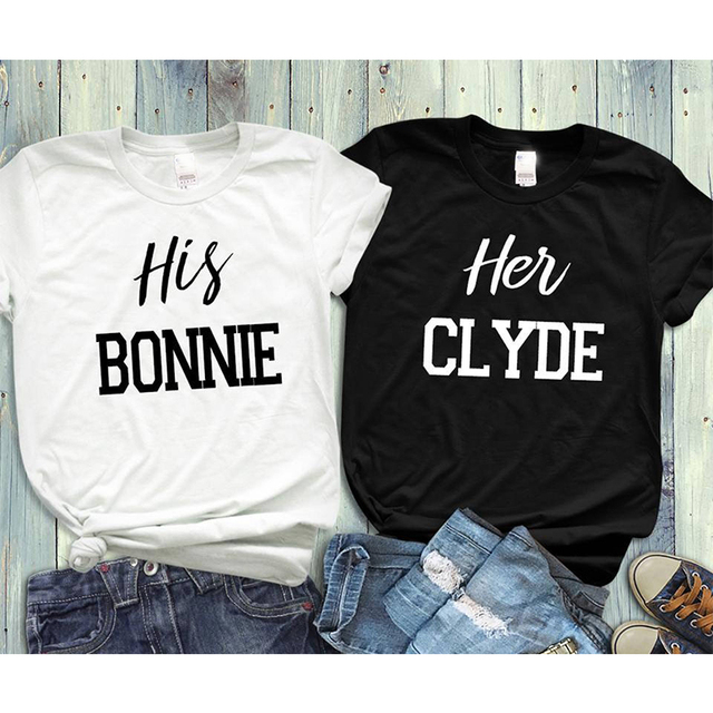 EnjoytheSpirit Couple Tshirt His Bonnie Her Clyde T Shirts Matching ...