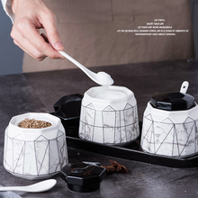 Геометрические линии дизайн сахарница домашняя кухня Ceramica для соли и специй Приправа сахарный контейнер для хранения с крышкой ложки