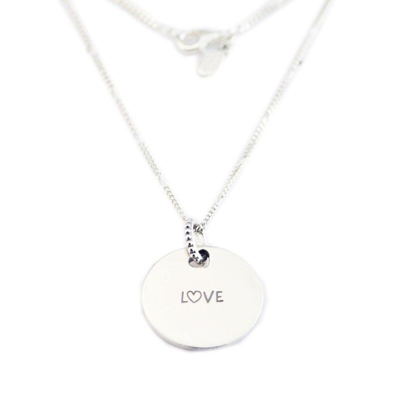 Authentique 925 argent Sterling doux doux belle amour disque pendentif 60 cm lien chaînes Long colliers pour femmes bijoux de mode