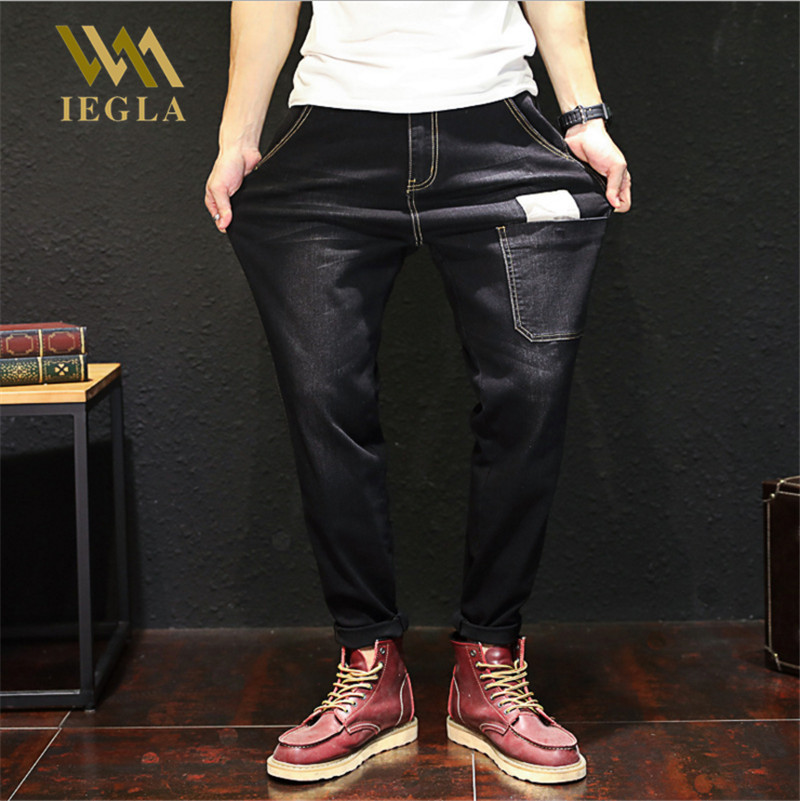 Mens Black Jeans Elastic Trousers Male Big Guy Loose Jeans With Stretch Ripped Jean Pantalon Homme Jean Hip Hop Pants