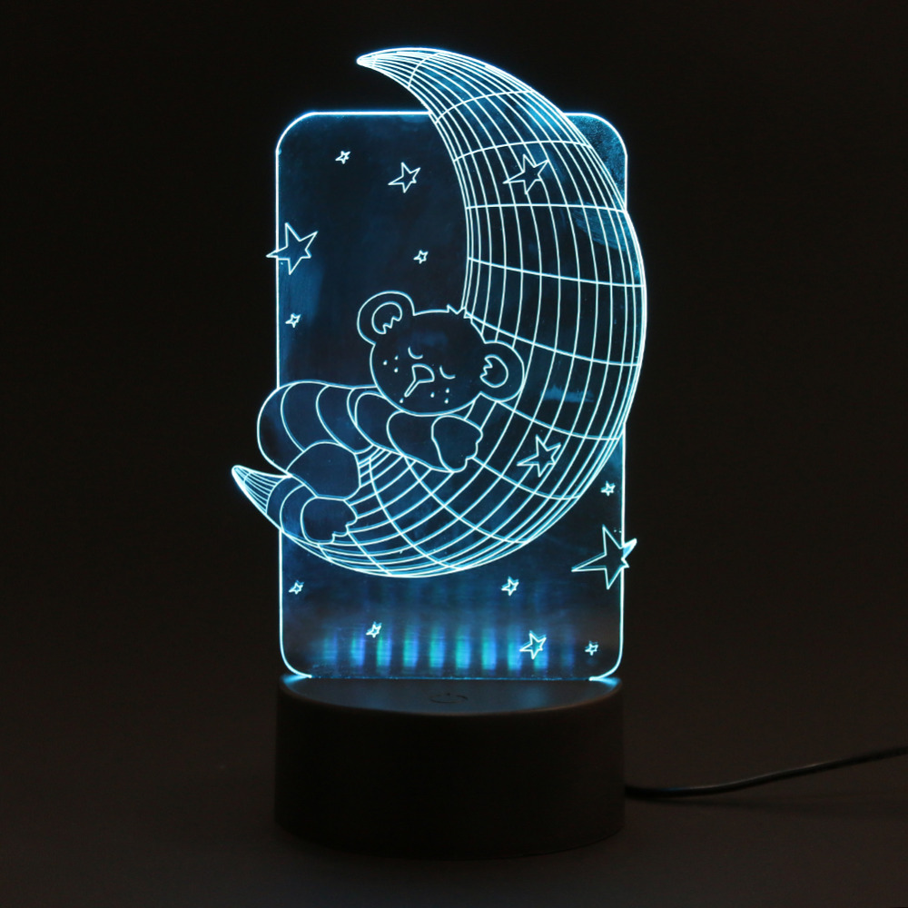 Creative 3D Effect Light Leaves Moon Heart Birthday USB LED Night Lamp Flash Party Festival Christmas Atmosphere Light Gift