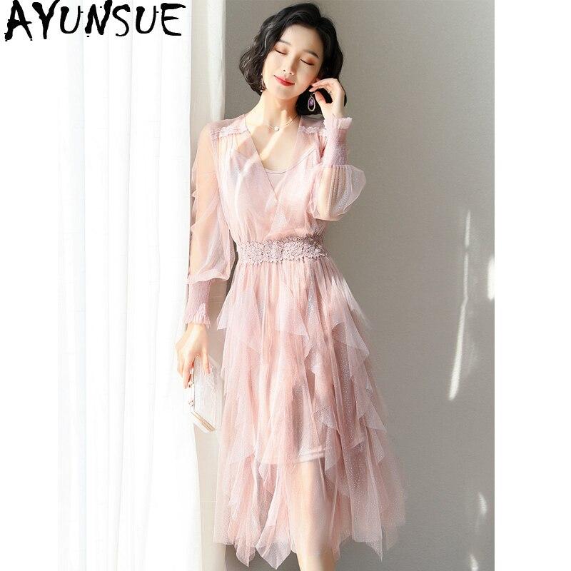 2019 nouveau printemps été dentelle robe femmes Boho Chic plage élégante robe parti femmes robes coréennes maille Vestidos Mujer KJ1908