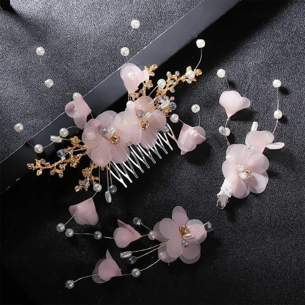 קסם לבן אלמוות קרפ פרח מסרק סיכת סטי הכלה בארה 'ב כלה חתונה שיער מסרק שיער תכשיטים