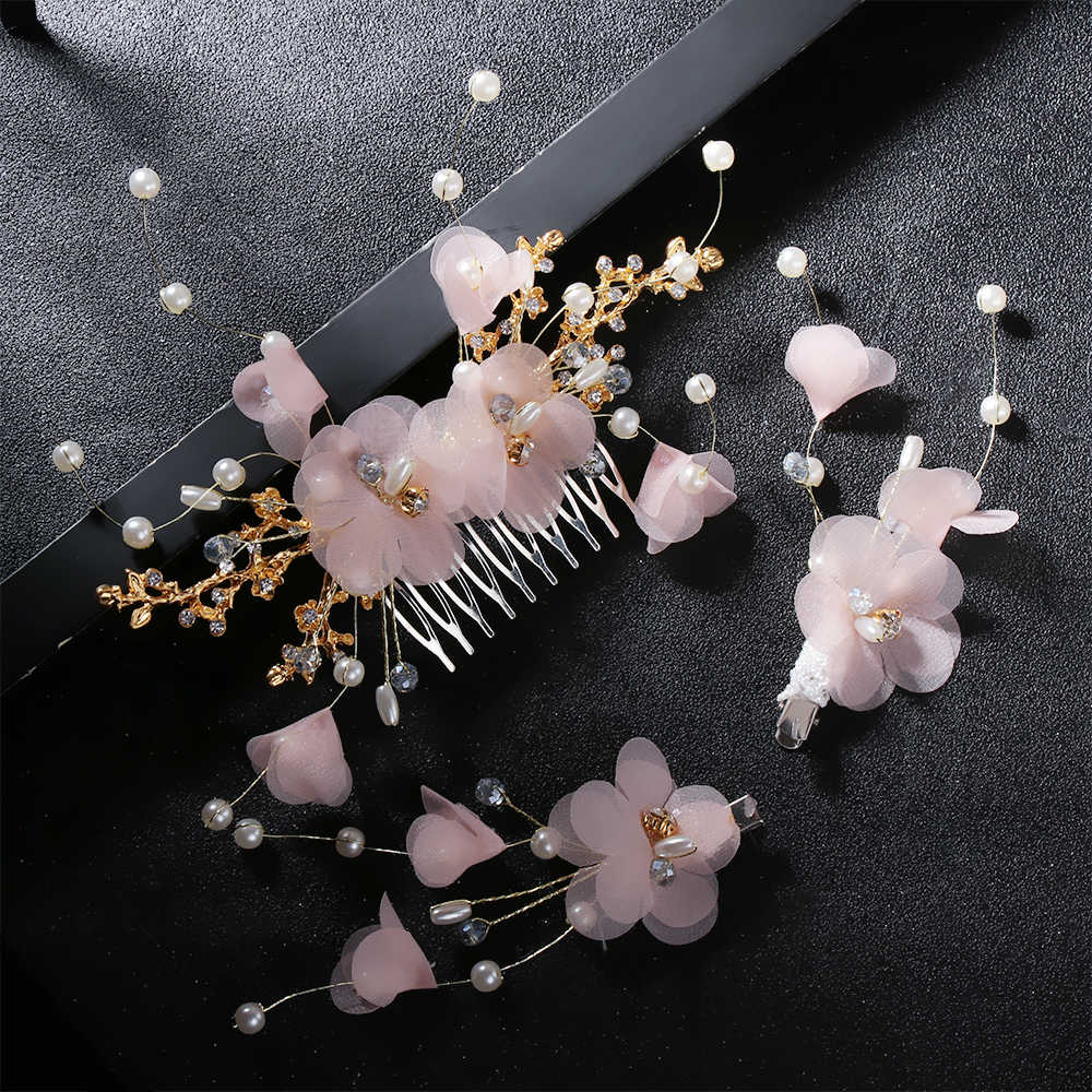 Charm White Immortal Crepe Flower Comb Barrette Sets Bride Headwear Bridal Wedding Hair Comb Hair Jewelry