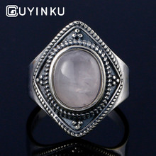 цена GUYINKU Oval Natural Rose Quartz Ring Elegant Vintage 925 Sterling Silver Jewelry Thai Silver For Women Party Gift Fine Jewelry онлайн в 2017 году