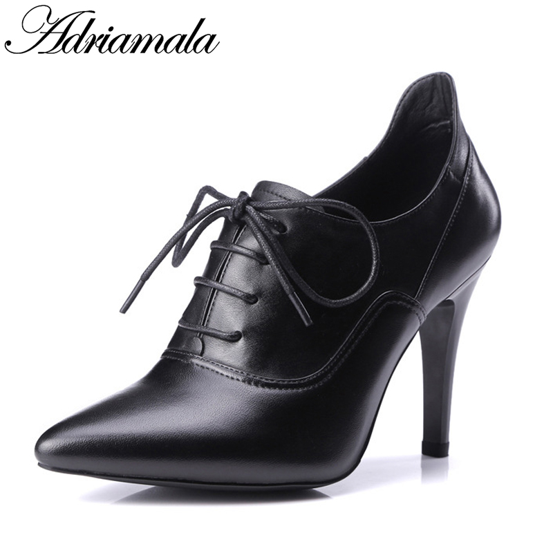 Pointed Toe Ankle Boots Genuine Leather Woman 2017 Autumn Brand Designer Fashion Sexy Thin Heels Lace-up Short Boots Adriamala цены онлайн