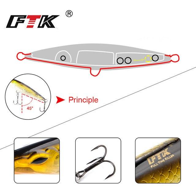 FTK 90mm-150mm popper crayon leurres longue fonte crayon appâts flottant pêche pour topwater leurre noeby haut eau leurre glace poisson