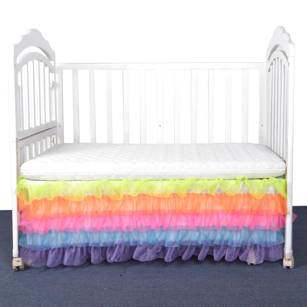 Adeeing Pretty Rainbow Colour Bed Skirt Mattress Cover for Kids Bedroom Decoration Bedding Supplies