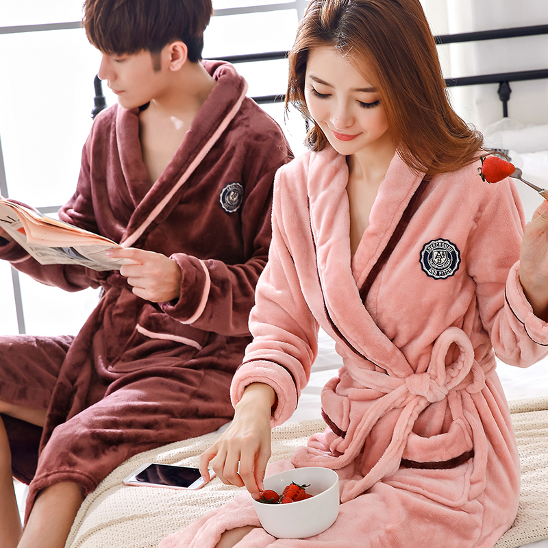 Lovers Coral Fleece Robe Autumn Winter Warm Sleepwear Women Men Thicken Bathrobe Lounge Nightgown Home Clothes M L XL XXL