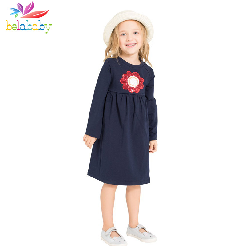 Belababy Baby Girl Dress 2017 New Spring Kids Long Sleeve Cotton Floral Casual Dresses For Girls Princess Sequins Clothing 2-12Y belababy baby girls preppy style dress princess children autumn double breasted cute kids casual long sleeve dresses for girls