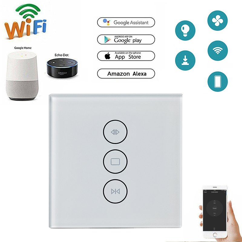EU/US Touch Curtain Wifi Switch Wall Voice Control For Alexa Amazon Google Assistant For Electric Curtain Motor Smart Home