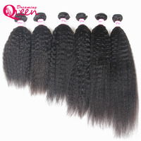 Dreaming Queen Hair Kinky Straight Brazilian Remy Hair Bundles Natural Black Color 100 Human Hair Extension