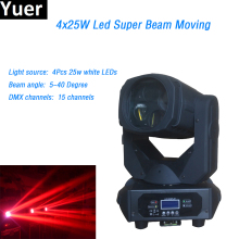 4x25w white Super Beam led Moving Head Light Gobo Strobe 15 DMX channels Spot Light Rotate Glass Lens for DJ Dicso Stage Light professional american dj stage light cree 10w led pocket moving head spot lcd display rotating color gobo wheel manual focus