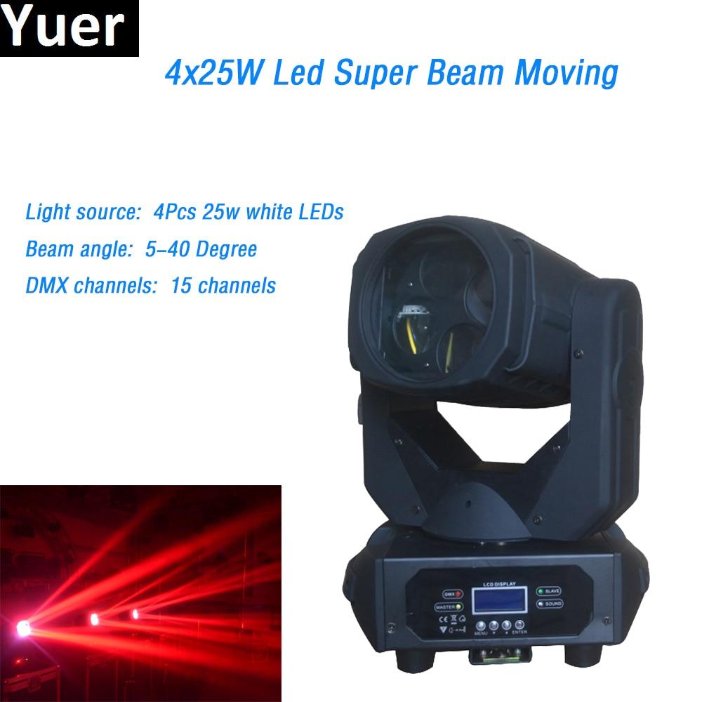 4x25w white Super Beam led Moving Head Light Gobo Strobe 15 DMX channels Spot Light Rotate Glass Lens for DJ Dicso Stage Light
