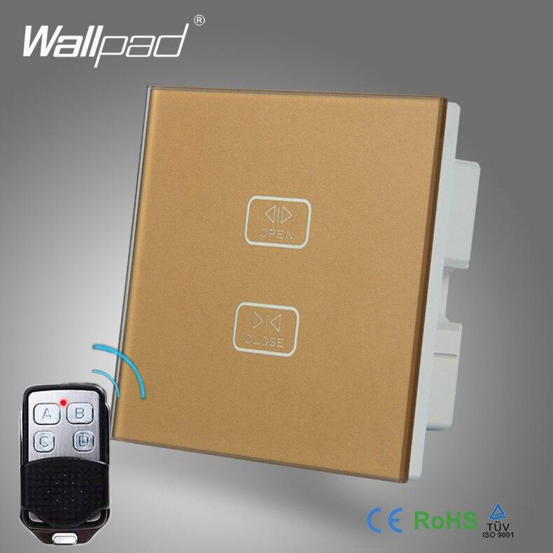 High End дистанционного Шторы переключатель адррес Wallpad золото закаленное Стекло 2 банды 1 способ дистанционного сенсорный ролик Шторы окна Упр... ...