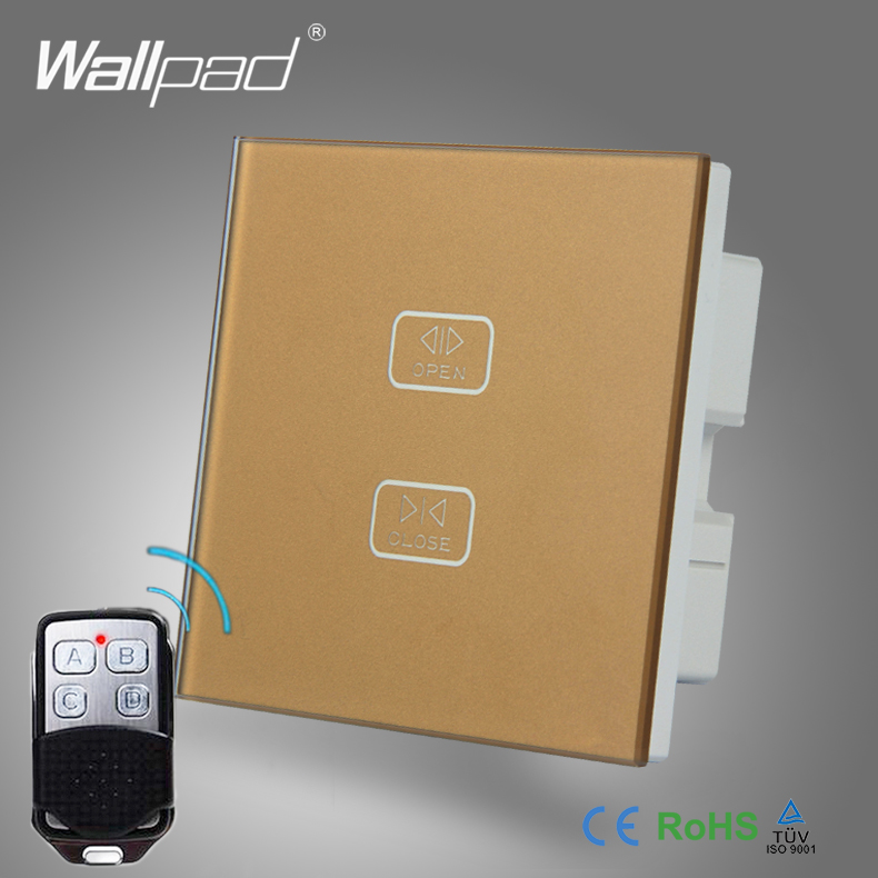 High End Remote Curtain Switch Wallpad Gold Toughened Glass 2 Gang 1 Way Remote Touch Roller Curtain Window Control Wall Switc 4 gang curtain switch wallpad black tempered glass switch 4 gang touch double curtain window shutter blinder wall switches