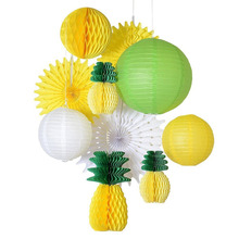(Yellow,Green,White) Summer Party Decoration Set Honeycomb Pineapple,Paper Lantern/Fans/Balls Luau Beach Tropical Backdrop