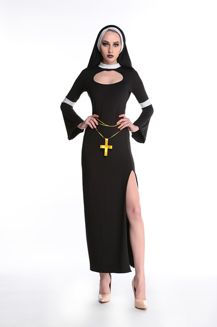 Sexy Catholic Monk Halloween Costumes Cosplay 2017 Nun -7435
