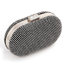 Bamboo Charm Fashion Solid Mini Egg Shape Womens Evening Party Clutch Pouch Crystal Handbag Shoulder Bag Crossbody Metal Chain