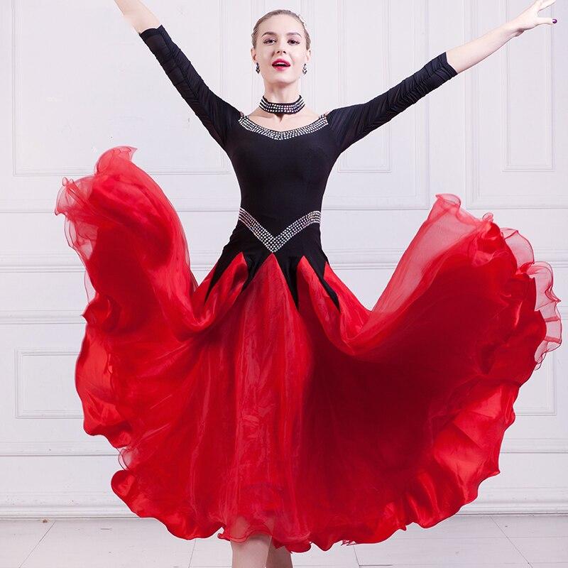 2018 New Ballroom Dance Dress Flamenco Dancing Costumes Waltz Dresses Long Sleeve Dresses Women Stage Performance Wear DN1258