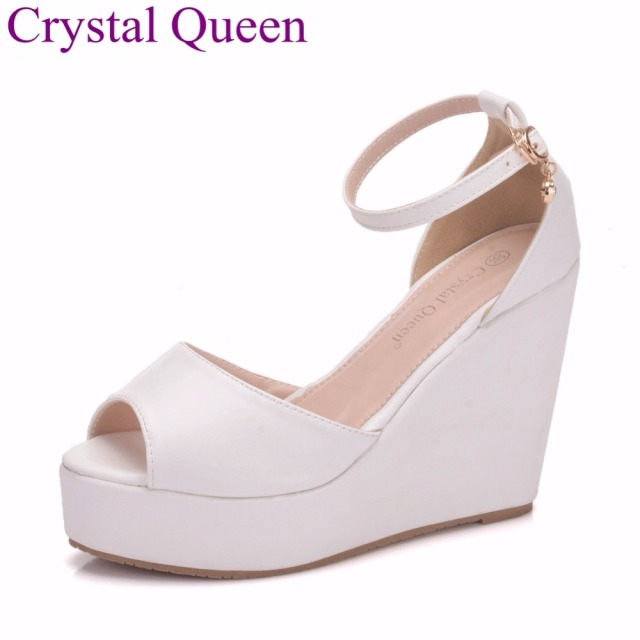 a4678e184 Crystal Queen Women Wedges Sandals Peep Toe 2018 Summer Sandals Women  Wedges Sandals Wedges White Sexy High Heels Beach Sandals