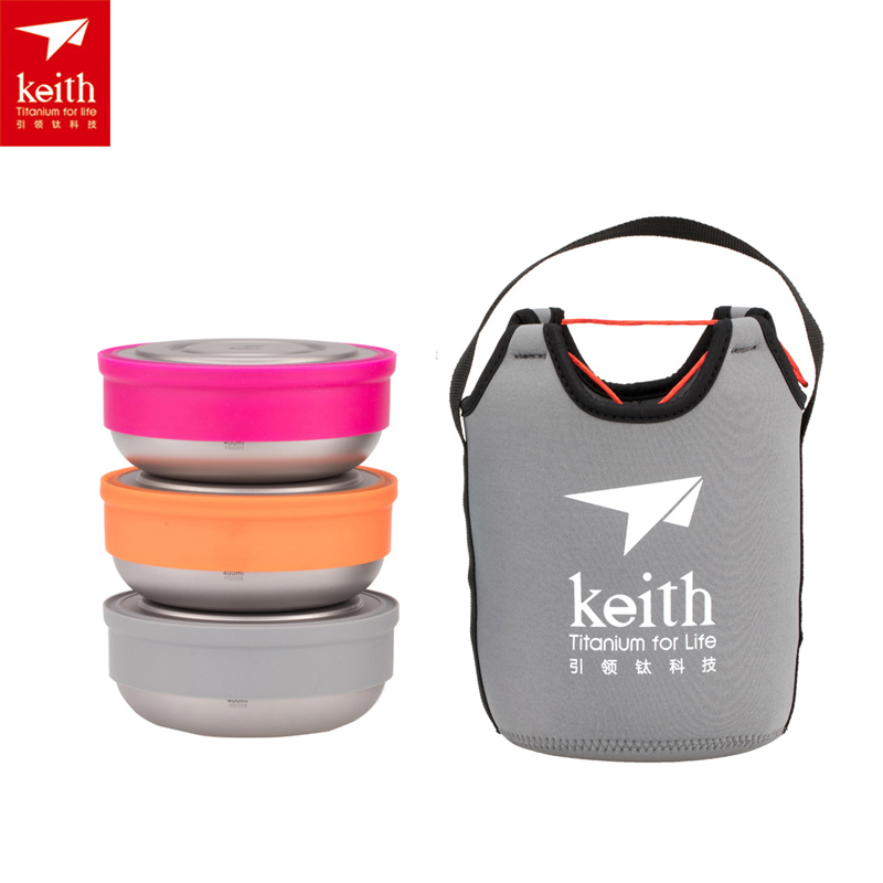 Keith 3pcs/set Outdoor Camping Titanium Lunch Boxes Ultralight Titanium Bowl with Lid Ti5378 keith pure titanium double wall water mugs with folding handles drinkware outdoor camping cups ultralight travel mug 450ml 600ml