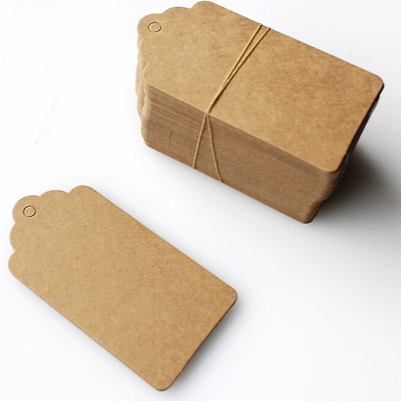 100Pcs Kraft Paper Tags Lace Scallop Head Label Luggage Wedding Note DIY Blank Price Hang Tag Kraft Gift Brown White 45*95mm
