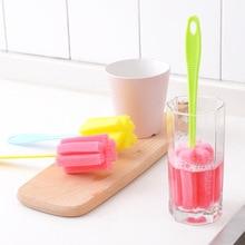 5pcs/set 25cm Baby Nipple Sponge Bottles Brush Cleaner Tools Baby Milk Feeding Bottle Sponge Brush Nipples Cleaning Scrubbers недорого