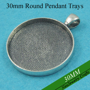 30mm Antique Silver Blank Pendant Tray 30mm Glass Setting Round Bezel Pendant Blanks 30mm Tray Pendant