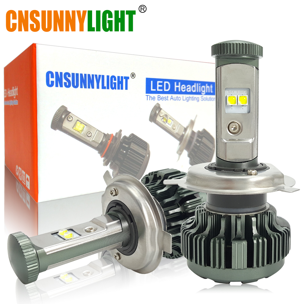 цена на CNSUNNYLIGHT H4 H13 9008 9004 9007 XPL LED Car Headlight Bulbs Hi/Lo Beam 8000LM 3000K 4000K 6000K White 8000K Auto Headlamp 12V